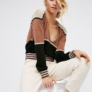 Free People Gold Dust Pullover V Neck Blouse